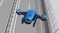 Blue VTOL-style delivery drone that fly next to the highway. Concept of ultra fast delivery 41771996