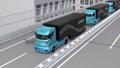 卡车和交付无人机在高速公路上排成一排。物流网络的概念 41771997