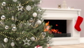Christmas tree and gift on fireplace background 41827466