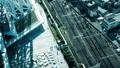 東京・タイムラプス・俯瞰・行き交う群衆と鉄道・カラーグレーディング 41990005