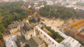 Aerial view . Beautiful view of the city and the magnificent Catholic temple from a bird's-eye view 41998694