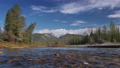 mountain river flowing, spring forest and snowcapped mountains on the background 42099395