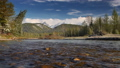 mountain river flowing in a slowmotion, spring forest and snowcapped mountains 42099396