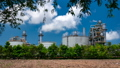 Oil Refinery Plant Behind Row Of Tree And Blue Sky 42255425