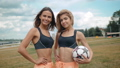 Members Of Female High School Soccer Team, two fit sexy skinny womans portrait girls outdoor happy 42294759