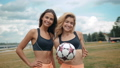 Members Of Female High School Soccer Team, two fit sexy skinny womans portrait girls outdoor happy 42294766