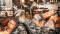 Burning fireplace in the restaurant interior 42301912