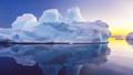 Beautiful blue iceberg floats in open ocean 42301973