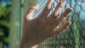 Female hand moving along the surface of grid. Arm of young woman touching metal wire fence. Girl 42303673