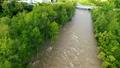 増水する川(空撮 フィクス撮影) 42406812