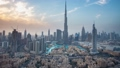Burj Khalifa and Dubai Fountain against sunset Time-lapse stock footage video 42966280