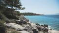 Beautiful wave splasing about stones on mediterranean sea. FullHD 43012251
