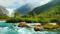 Briksdal glacier with a mountain river in the foreground. The amazing nature of Norway 43186075
