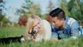 couple, dog, outdoor 43301547