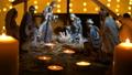 Jesus Christ Nativity scene with atmospheric light 43364629