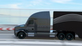 旅行在高速公路桥梁的黑燃料电池卡车的动画 43386852