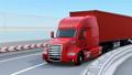 通过高速公路曲线的红色燃料电池卡车 43386853
