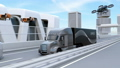 Fuel cell truck traveling on highway, delivery drone and flying car. Logistics concept 43386854