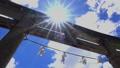 神社の鳥居と春空2_03-1355 43461786