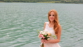 Beautiful bride against the background of mountains. Wedding day 43589254