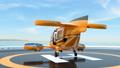 乘客无人机在直升机场装载高尔夫球袋并准备起飞。富裕的人的运输概念 43656874