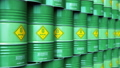 Group of rows of green stacked biofuel drums 43672805