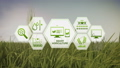 Smart agriculture farm, IoT icon on barley field 2 43677043