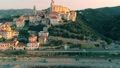 Aerial: flying around Cervo medieval town on the m 43688843