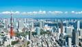 美しい東京風景・タイムラプス・青い空と青い海 再開発ラッシュの湾岸エリアを望む ティルトアップ 43751736