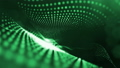Dark composition with oscillating luminous green particles that form wavy surface. Smooth animation 43854341