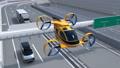 重型卡车和快递在高速公路上驾驶,交付无人机和无人机出租车旁边飞行 43886424