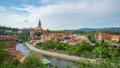 Cesky Krumlov city skyline in Czech time lapse 43917427