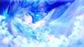 【手描き】ふわふわ動く女の子 青背景 光パーティクル 43953334