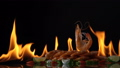 grill shrimp , barbecue sea food on fire flaming 44147495