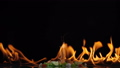 grill shrimp , barbecue sea food on fire flaming 44147497