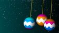Three bright christmas balls swing in space, 3d render background, computer generated backdrop 44201775
