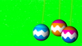 Three bright christmas balls swing in space, 3d render background, computer generated backdrop 44201776