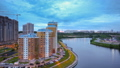 Timelapse of sunset over Moscow river 44363050