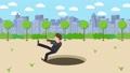 Businessman walk hole fall risk city illustration 44365526