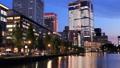 東京トワイライト 丸の内オフィス街 夕暮れからライトアップ タイムラプス パン 44393992