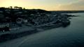 Drone rises by the Cornish town of Marazion at sun 44489243