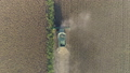 agribusiness, aerial view agricultural machine harvesting of ripe soybeans on field 44505898