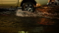 Flood street at night rain fall with motorbike and 44519299