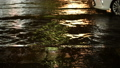 Flood street traffic at night rainfall with cars  44519301