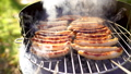 Grilled sausage on the picnic flaming grill 44567592