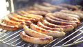 Grilled sausage on the picnic flaming grill 44574820