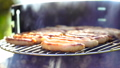 Grilled sausage on the picnic flaming grill 44574824