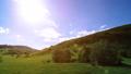Mountain meadow timelapse at the summer. Clouds, trees, green grass and sun rays movement. 44582939