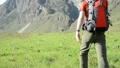 Hiking man walking on green mountain meadow with backpack. Summer sport and recreation concept. 44582953