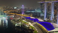 Night Singapore cityscape time-lapse. pan up 44753558